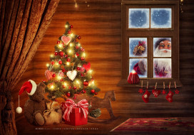 елка, гирлянда, окно, игрушка, медведь