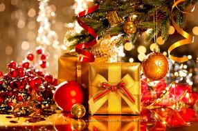 игрушка, шар, коробка, подарок, елка