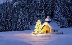 праздничные, новогодние пейзажи, часовня, огни, ёлка, снег, лес