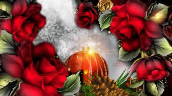 праздничные, векторная графика , новый год, шишки, шар, фон, лепестки, цветы