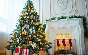 праздничные, Ёлки, камин, елка