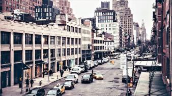 машины, дорога, улица, люди, дома, здания