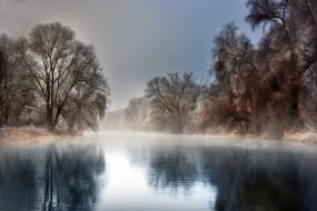 Robert Didierjean, мороз, река, отражение, туман, пейзаж, природа, иней, деревья, зима
