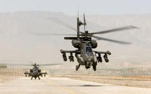 военный аэродром, boeing, ah64, вертолеты, пустыня, apache