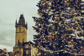 города, прага , Чехия, башня, часы, елка