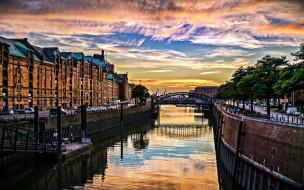 города, гамбург , германия, река, мост