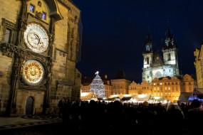 города, прага , Чехия, часы, башня