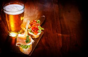 бокал, пиво, бутерброды, пена