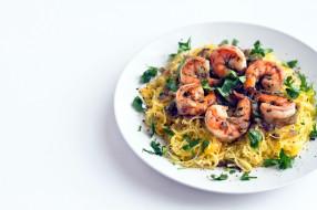 еда, макаронные блюда, креветки, спагетти, паста, макароны
