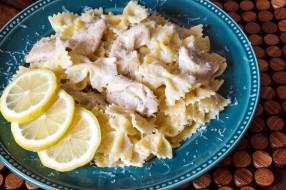 еда, макаронные блюда, лимон, бантики, паста, макароны