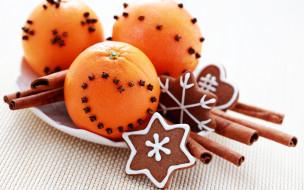 тарелка, печенья, пряности, апельсины