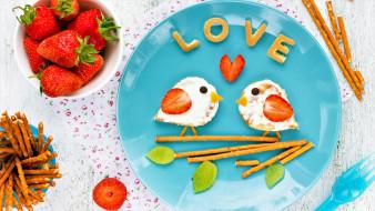 еда, разное, тарелка, палочки, клубника, ягоды, птицы
