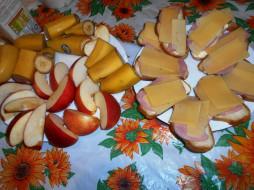 еда, бутерброды,  гамбургеры,  канапе, яблоки, бананы, сыр, хлеб, колбаса