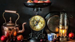 еда, натюрморт, лампа, яблоки, весы