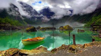 корабли, лодки,  шлюпки, озеро, лодка, туман