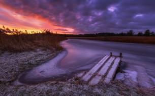 природа, восходы, закаты, закат, небо, зима, река