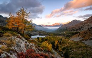 вечер, закат, пейзаж, озера, сша, северная америка, желтый, осенний пейзаж, долина