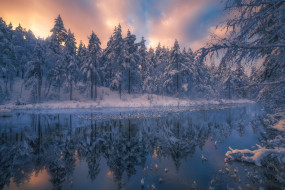 река, лес, снег