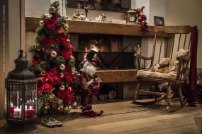 календари, праздники,  салюты, игрушка, елка, комната, кресло, фонарь, камин