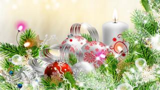 праздничные, - разное , новый год, фон, шары, ветки
