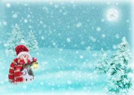 снежинки, снеговик, снег, елки