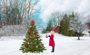 праздничные, - разное , новый год, новый, год, девочка, елка, игрушки, зима