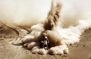 пустыня, гонка, ралли, мотоцикл, песок