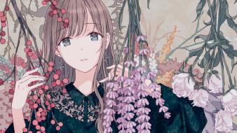 цветы, девочка