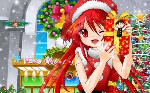 аниме, зима,  новый год,  рождество, костюм, магазин, девочка, подарок, ёлка