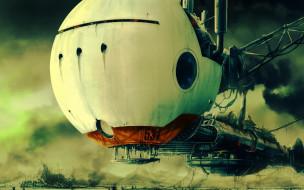 фэнтези, космические корабли,  звездолеты,  станции, дым, корабль, конструкции