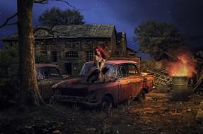 автомомбиль, огонь, девушка, бочка, дом, фон