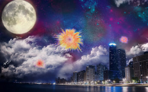 луна, тучи, салют, город