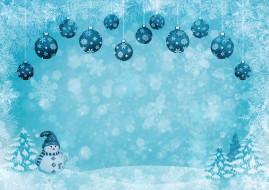 шары, снежинки, снег, снеговик
