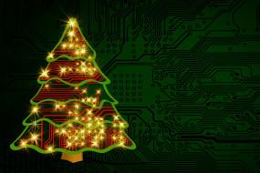новый год, фон, электроника, плата, наряд, елка