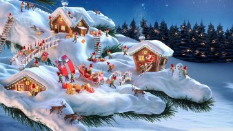 домики, снег, ель, гномы