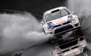 вода, отражение, гонки, гоночные машины, volkswagen, брызги