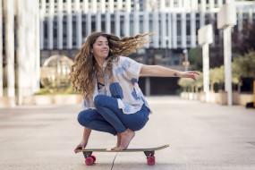 взгляд, фон, скейт, девушка