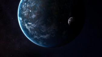 космос, арт, звезды, луна, планета, moon, stars, space, art, спутник, planet, satellite, vadim
