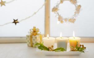 праздничные, новогодние свечи, свечи, украшения, коробка, окно