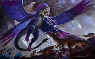 крылья, хвост, фон, существа