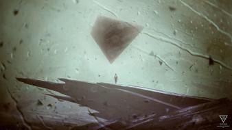 человек, скалы, пирамида, капли, дождь