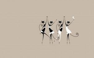 вектор, арт, праздник, танец, Кошка