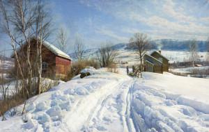 дома, зима, снег, лошадь