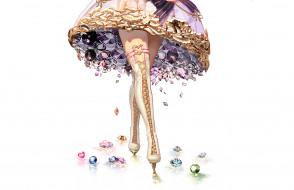 подол, ботфорты, фон, бриллианты, девушка
