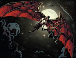 тучи, луна, ночь, крылья, Веном, Человек-Паук, небо
