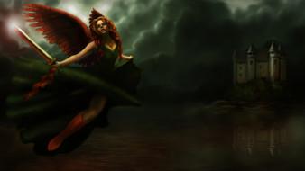 замок, девушка, фон, крылья