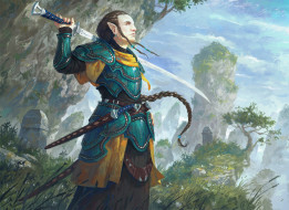 фэнтези, эльфы, меч, униформа, фон, мужчина, эльф