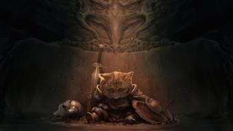 фэнтези, существа, щит, фон, латы, меч, кот, рыцарь