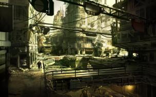 фэнтези, иные миры,  иные времена, развалины, город, человек