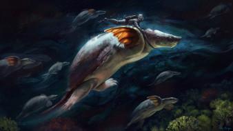 фэнтези, существа, exploring, alex, shiga, illustrator, подводный, мир, арт, черепаха, фантастика